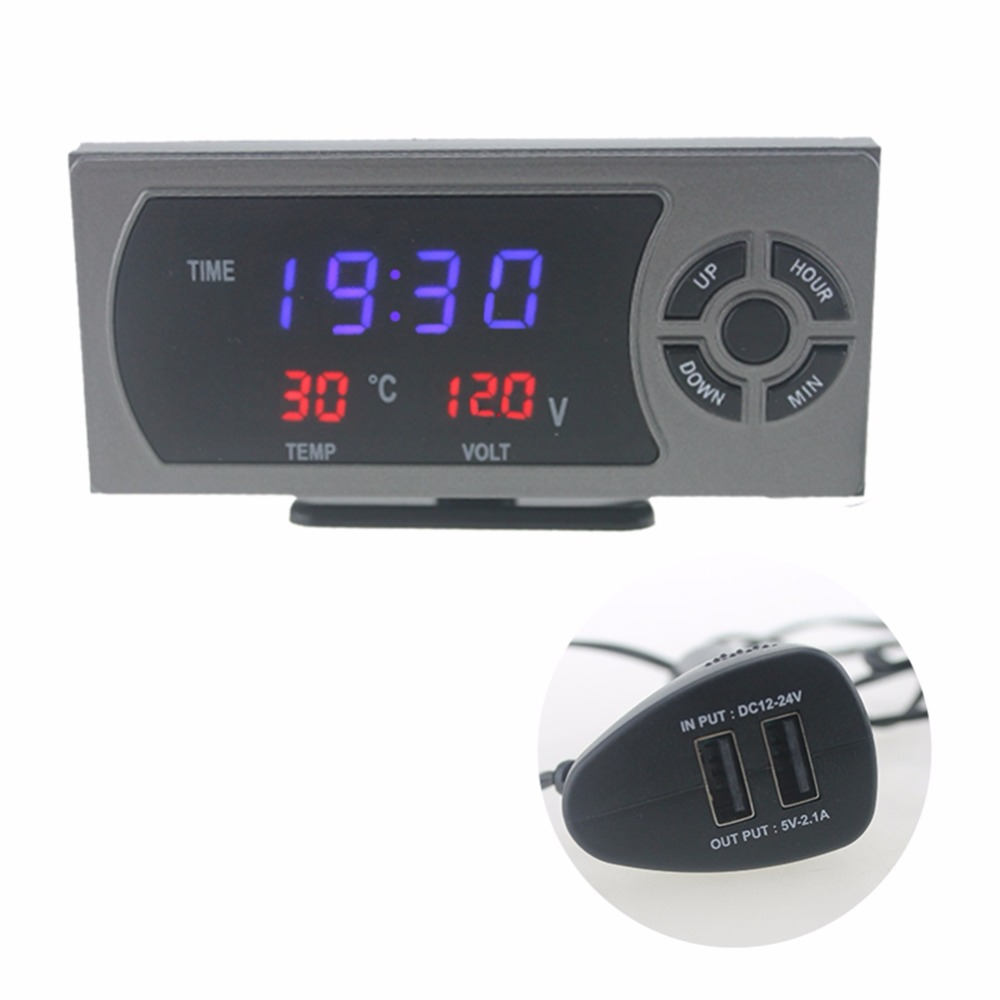 Double USB Port Automobile LED Electronic Clock Timer with Thermometers Temperature Gauge with Voltmeter Voltage Meter