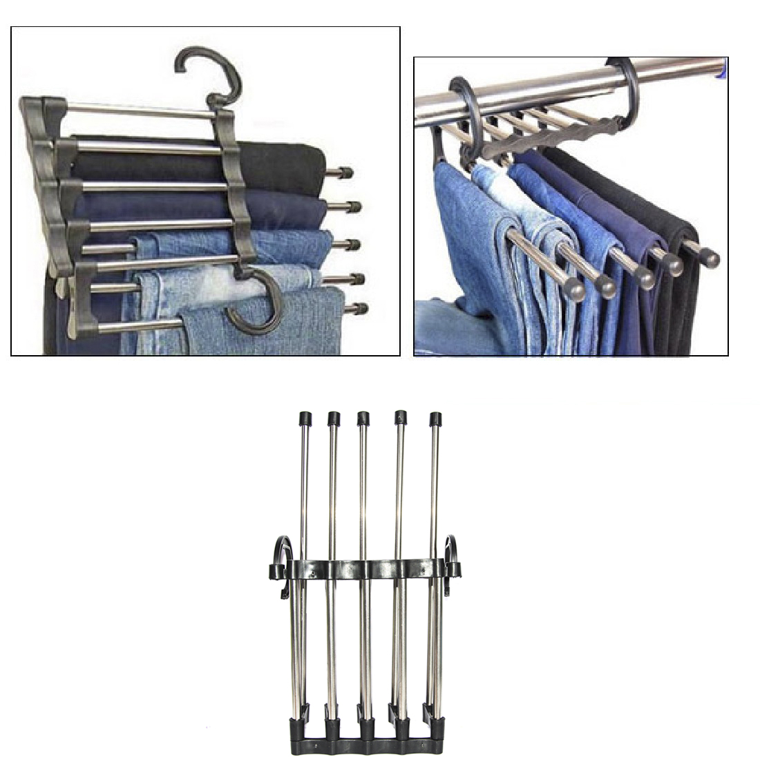 Practical Home Stainless Steel Tube Pants Rack Retractable Magic Clothes Trouser Holder Storage Hanger Home Organizer