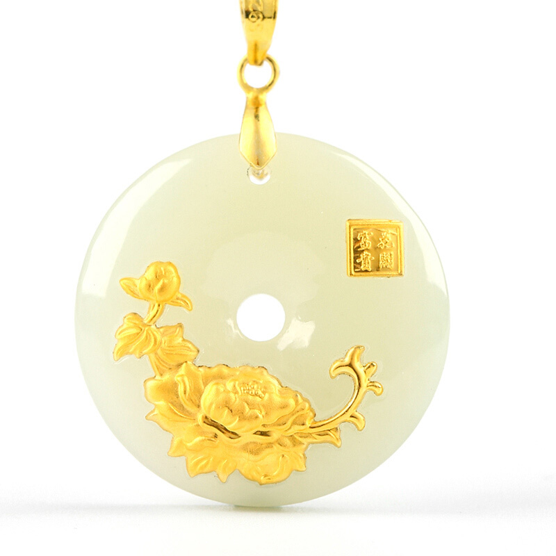 Hetian Jade Safety Button Pendant Jade Ping An Kou Necklace Lovers Lucky Amulet 24K Gold Jewelry