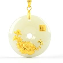 Hetian Yeşim Güvenlik Düğmesi Kolye Yeşim Ping bir Kou Kolye Severler Şanslı Muska 24 K Altın Takı Toptan Çin Ince takı