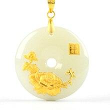 Hetian colgante de botón de seguridad de Jade, collar de Jade Ping An Kou, amuleto de la suerte, joyería de oro de 24 quilates, joyería fina China al por mayor