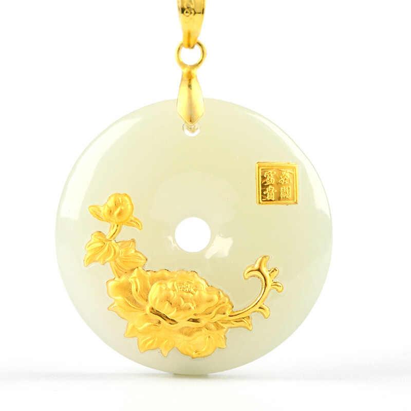 Hetian اليشم سلامة زر قلادة اليشم بينغ آن كو قلادة عشاق محظوظ تميمة 24 K الذهب والمجوهرات الجملة الصينية غرامة مجوهرات