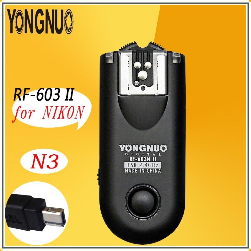 YONGNUO RF603 II N3 RF603 ii RF 603 2.4G Sans Fil Déclencheur Flash 2 Émetteurs-récepteurs pour Nikon D90/D5000/D3100/D3200/D7000//D5100/D600