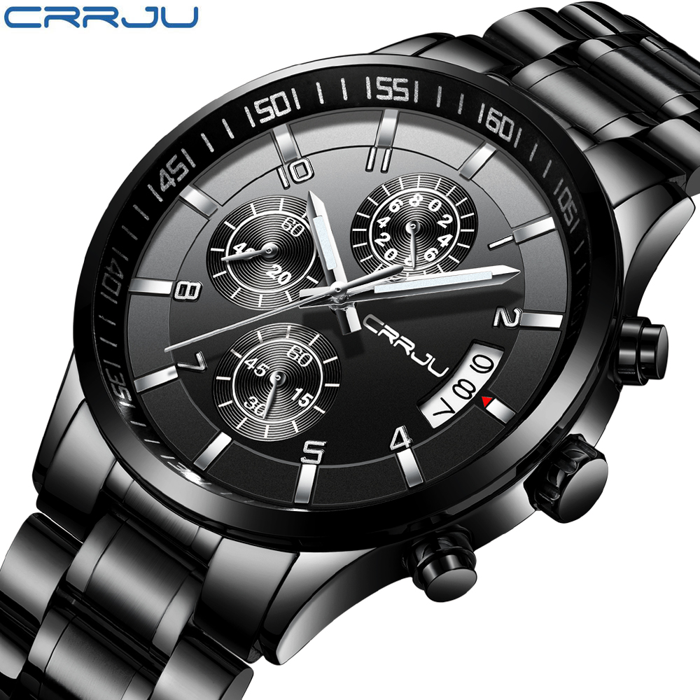 CRRJU Mens Black stainless steel band Luxury Quartz Clock Male Casual Business Calendar Waterproof WristWatch Relogio Masculino цена и фото