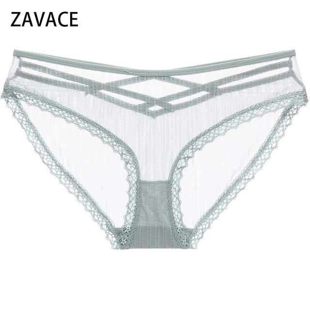 5489bfa81650 ZAVACE 2018 Sexy Double crossed hollow mesh underwear female low waist sexy  lace edge lines briefs panties women's underwear