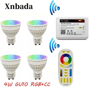 MiLight Gu10 4 ワット Led ランプ RGB + CCT + リモート + IBX2 RF リモート Wifi led 電球 Led スポットライトライト led ライト AC85-265V 送料無料