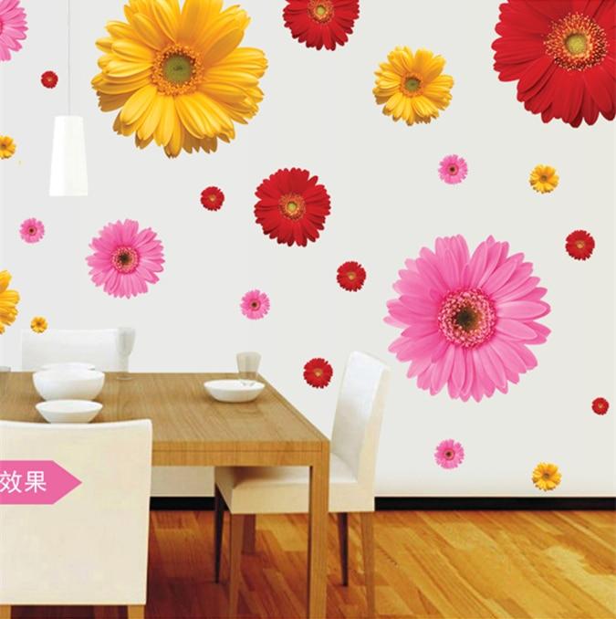 Zs स्टिकर डी फूल दीवार स्टिकर डेज़ी घर की सजावट diy चिपकने वाला कला भित्ति शोकेस vinyl जेरर डेज़ी सजावटी