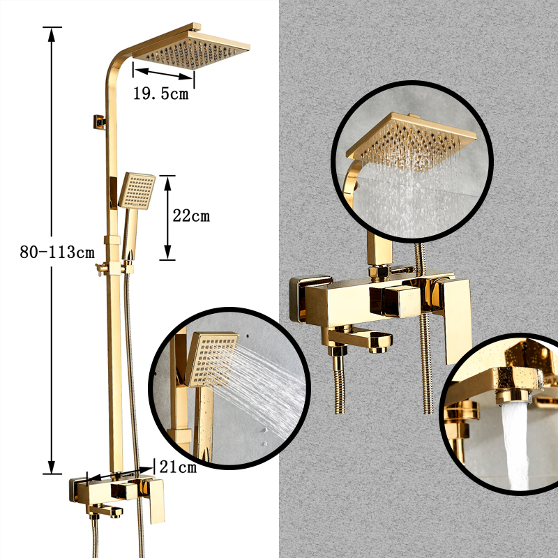 Bathtub Faucets Luxury Gold Brass Bathroom Faucet Mixer Tap Wall Mounted Hand Held Shower Head Kit Bathtub Faucets Luxury Gold Brass Bathroom Faucet Mixer Tap Wall Mounted Hand Held Shower Head Kit Shower Faucet Sets