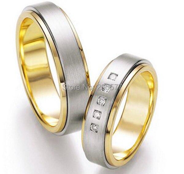 2014 bicolore plaqué or occidental personnalisé santé titane fiançailles et anneaux de mariage ensembles