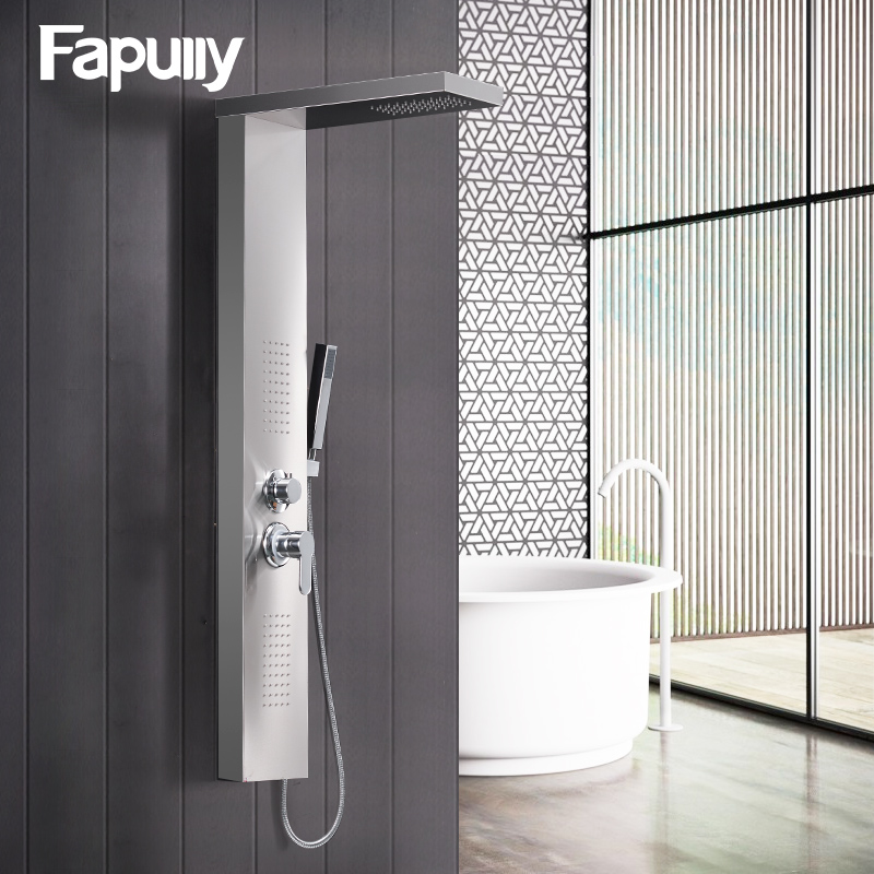Fapully Brushed Nickel Wall Mounted Shower Panels Rainfall Waterfall ...
