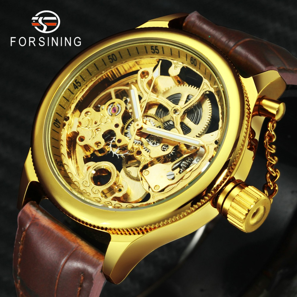 FORSINING Fashion Dress Automatic Mechanical Mens Watches Top Brand Luxury Leather Strap Skeleton Carved Dial Classic WristwatchFORSINING Fashion Dress Automatic Mechanical Mens Watches Top Brand Luxury Leather Strap Skeleton Carved Dial Classic Wristwatch