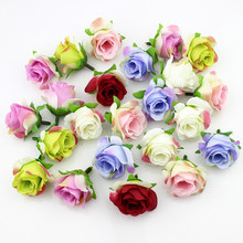 20pieces 3-4cm Artificial silk Rose flower Head Scrapbooking Flowers Ball For Wedding Decoration(China)