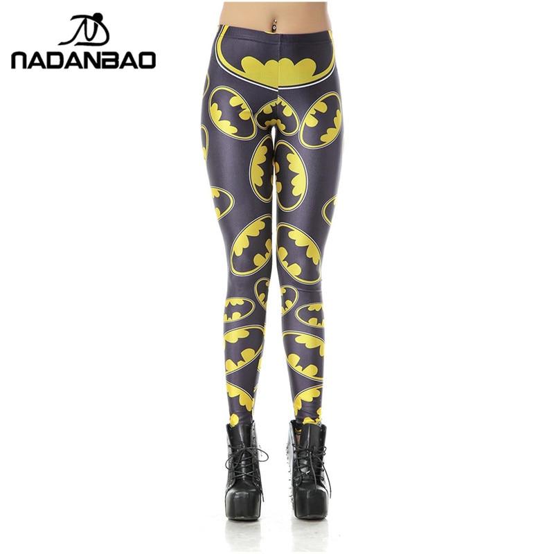 NADANBAO New Women Leggins High Waist Cartoon Batman Logo Badge Legins Printed Skinny Leggings