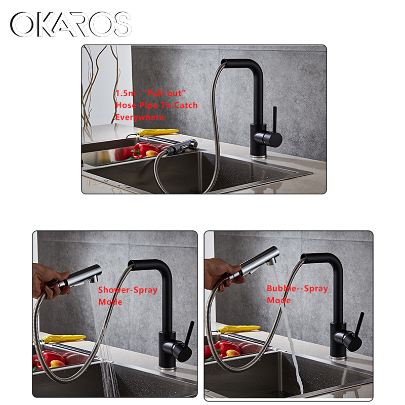 OKAROS Kitchen Swivel Romovable Faucet Black Panited Pull Out Down Water Saver Mixer Tap Modern Faucets Water TapTorneira Parede