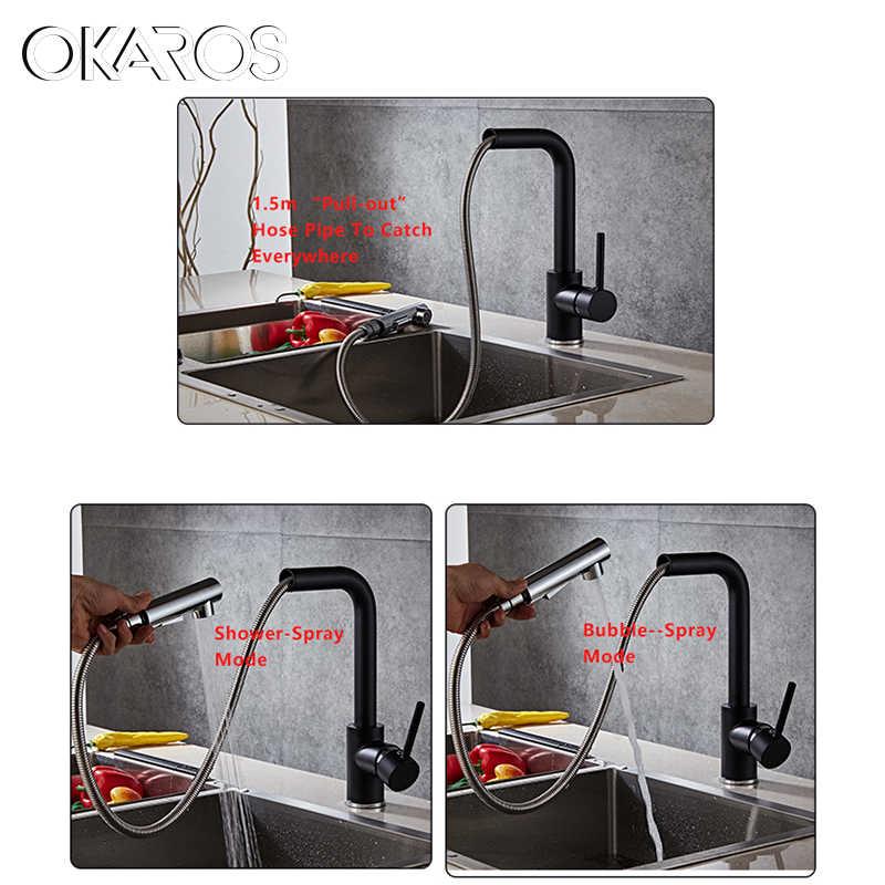 Okaros для кухни Поворотный съемный кран черный Panited вытянуть вниз водосберегающий смеситель современные краны воды TapTorneira Parede