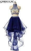 Gardlilac Холтер Двойка Homecoming платье тюль Бисер Короткие вечерние платья 2017 пикантные вечерние платье