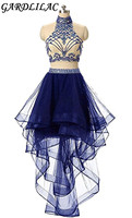 Two Pieces Tulle Halter High Low Bead Crystals Homecoming Dress Keyhole Back Prom Gowns Short Vestidos