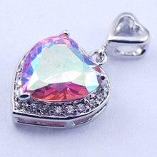 New Rose Simulado Rainbow Mystic Topaz Mujer 925 Plata Cristal colgante TE375