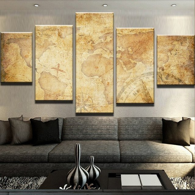 Posters Canvas Wall Art  Prints Canvas Painting Wall Modular Pictures 5 Panel Map For Living Room Home Decor Frames PENGDA