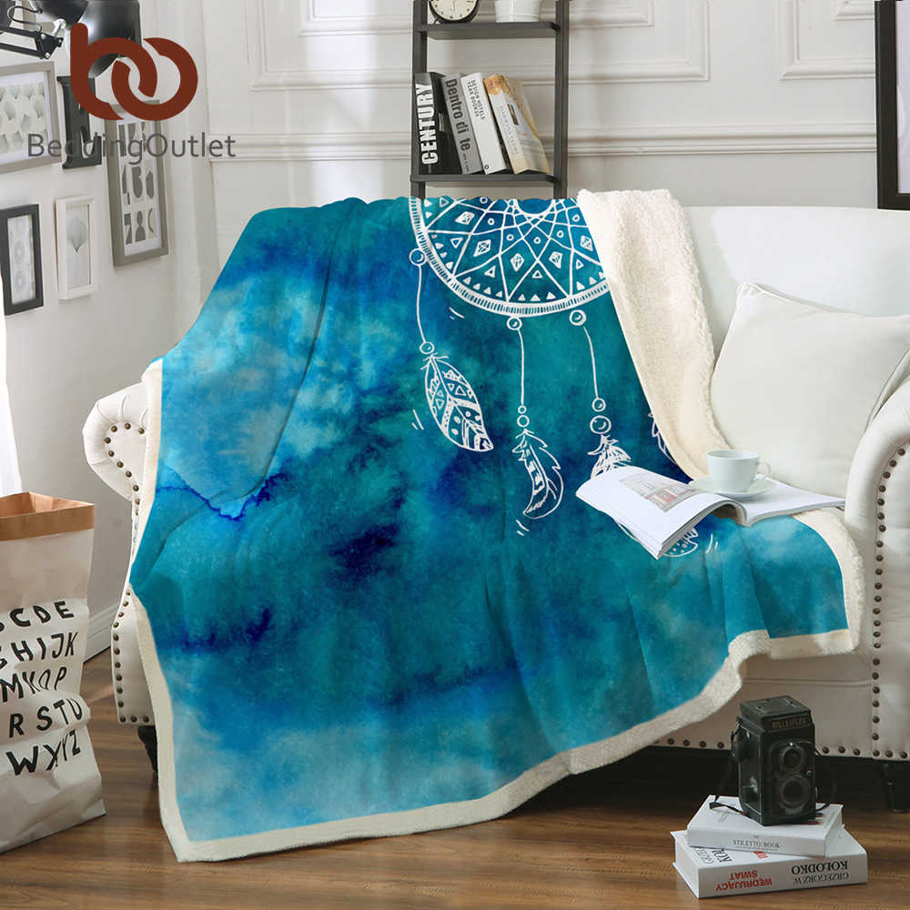 BeddingOutlet Soft Velvet Plush Throw Blanket Watercolor Dreamcatcher Sherpa Blanket for Couch Blue and Pink Throw Travel