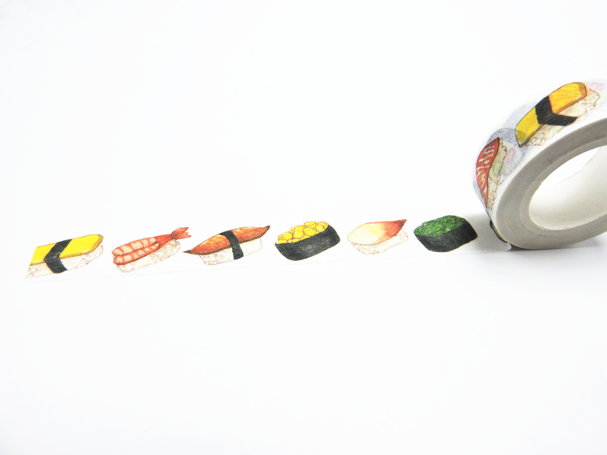 2016 New Printing Washi Tape Office Adhesive Scrapbooking Tools Kawaii Decorative Great Christmas Cute Craft Gift Sushi
