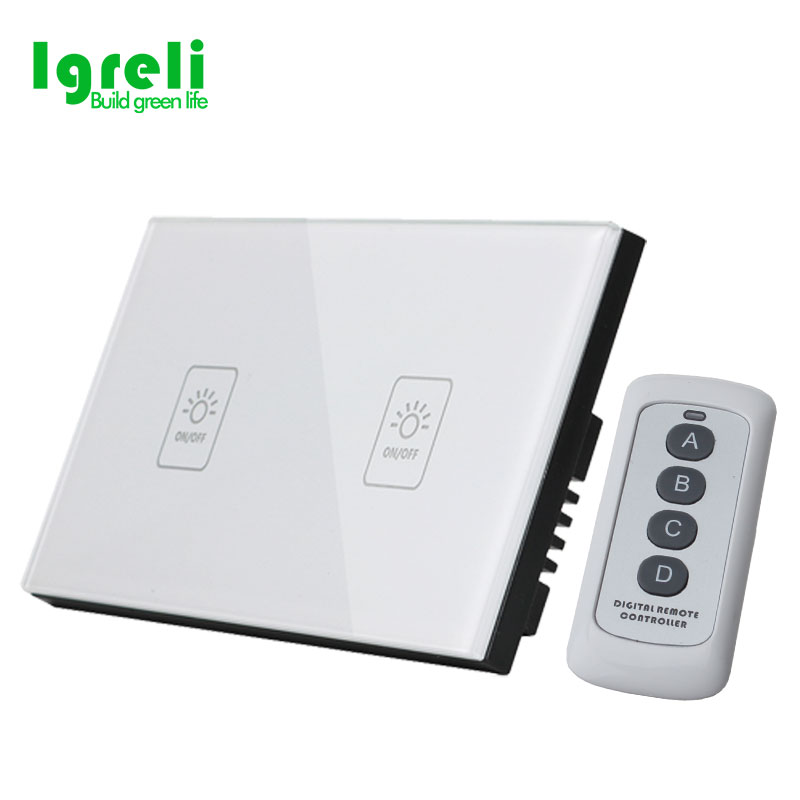 2018 Smart US Standard Luxury White Crystal Glass ,Wall Switch, Touch Switch, Normal 2 Gang 1 Way Remote Control Light Switch.