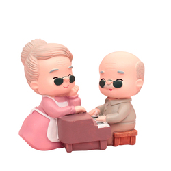 Dekoracje na tort urodzinowy mops stary człowiek starsza pani z okazji rocznicy ślubu dekoracje ślubne pomyślny prezent w Posągi i rzeźby od Dom i ogród na