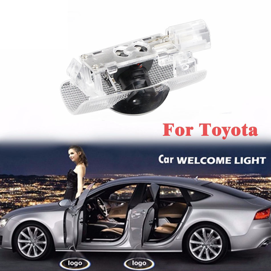 Newest 2Pcs Car Door Led Circle Shadow Light Ghost Logo Projector Courtesy Backlight Auto Car-Styling Welcome Lamp For Toyota