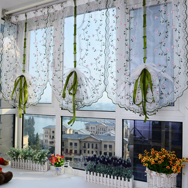 Floral Embroidered Design Country Style Balloon Window Curtains With 4  Hooks For Home Livingroom Bathroom Window