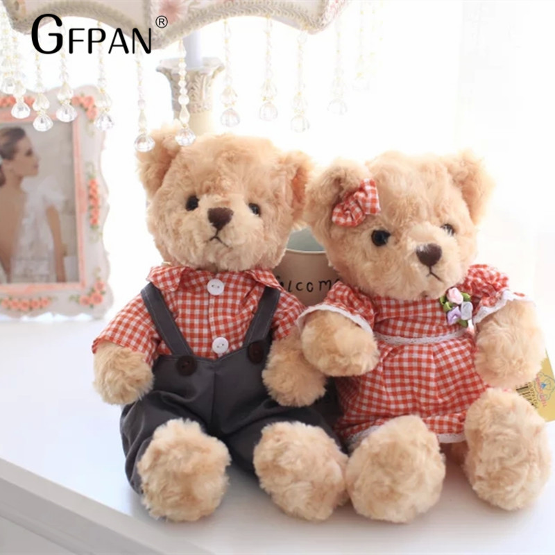 New Arrival 30cm Kawaii Couple Teddy Bear With Colorful clothes Stuffed Toy Super Cute Plush Toys Dolls Birthday Gift For Kids the new arrival hot dress stuffed teddy bear doll sit plush dolls bears direct manufacturers wholesale for kids toys