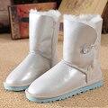 UVWP Moda Mulheres Neve Botas de pele de Carneiro Genuína Mulheres de Couro Botas de 100% Botas de Inverno Pele Natural para inverno de Lã Quente Frete Grátis
