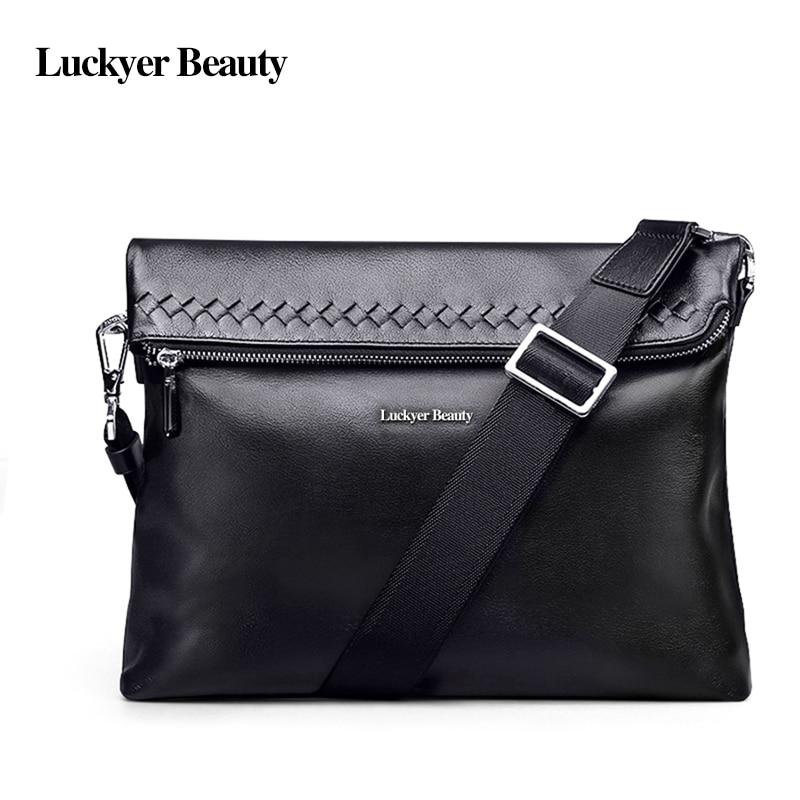 ФОТО LUCKYER BEAUTY  Men's Messenger Bag Men Shoulder Bag Casual Soft Genuine Leather Crossbody   Bags Woven Pattern Simple Male Bag