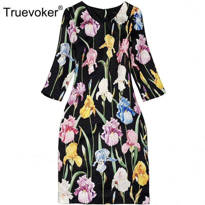 Imprimé Femmes Designer Coloré Floral Robes Noir Manches Grande Moitié 2xl Robe Jacquard Haute Qualit Taille De Truevoker hQrdst