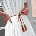 Damas de punto de Lujo Femenina Correa Diseñador de la Marca de Alta Calidad de Cuero de LA PU de Las Mujeres Cinturones Estrechos de Cintura para Pantalones Vaqueros Vestido de Boda