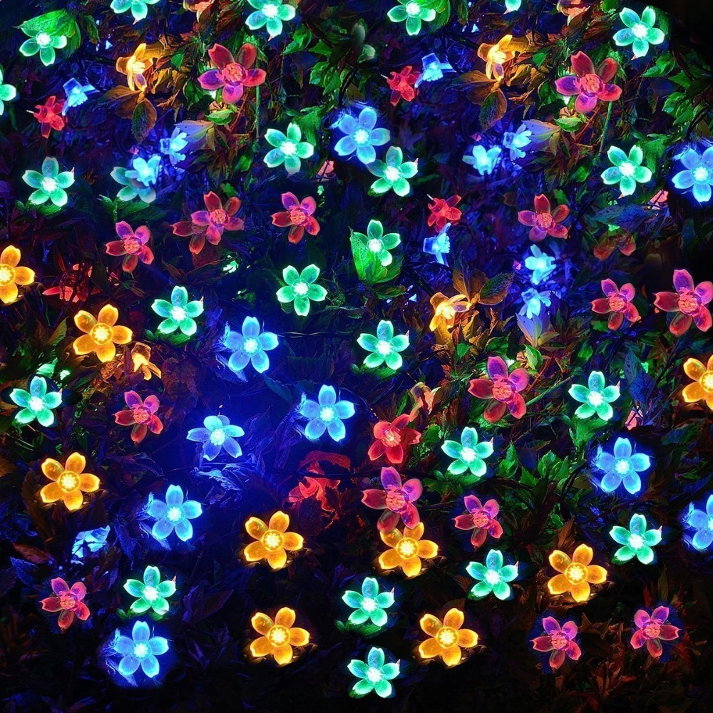 VUAN Solar Flower Fairy String Lights 50 LEDs Waterproof Flower Outdoor Decoration Lighting for Patio, Lawn, Garden, Christmas