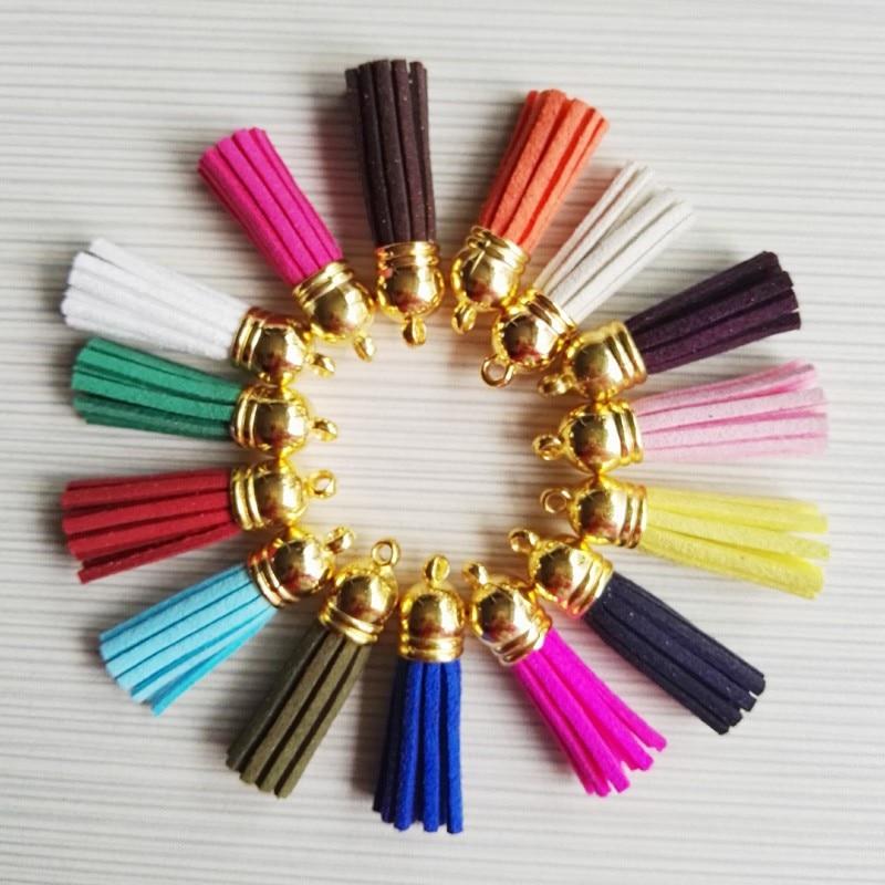 Suede Tassel 100 sztuk zmieszane Dla Brelok Telefon Pasy Frędzlami Charm Biżuteria 1.5 cal Skórzane Frędzle Plastikowe złocenie Czapki