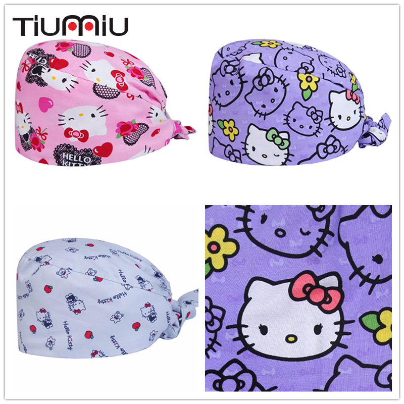 Men Women Cute Cats Printed Medical Caps Gourd Hat Clinic Surgical Hospital Doctor Laboratory Pharmacy Beauty Salon Workwear Hat With The Best Service Accessories Work Wear & Uniforms