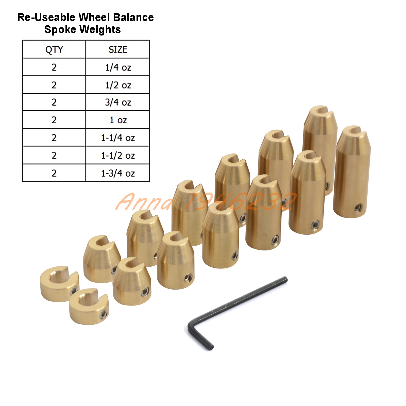 14 Pack Reusable Motorcycle Brass Wheel Spoke Balance Weights Refill Kits For spoked wheels.