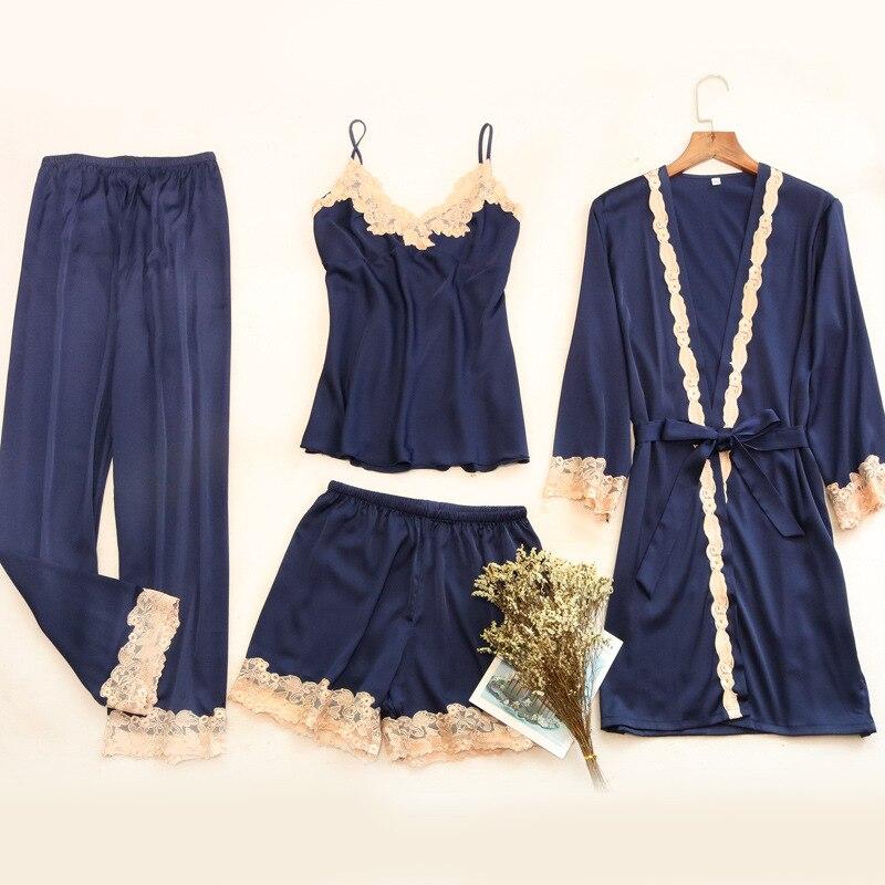 Autumn Blue Lace Camis + Long Pant + Shorts + Robe 4 Piece   Sets   Women   Pajamas     Set   pyjama Sexy Casual Comfortable pijama mujer
