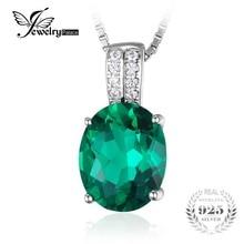Jewelrypalace oval nano ruso creado esmeralda colgante plata de ley 925 colgante de la joyería para las mujeres no incluye la cadena