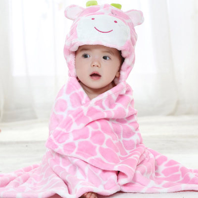0-2 Years Old Spring and Autumn Animal Shapes  Yellow Lions / White Dog / Pink Cow / Pink Pig  Flannel Cloak Monolayer ATRQ0005