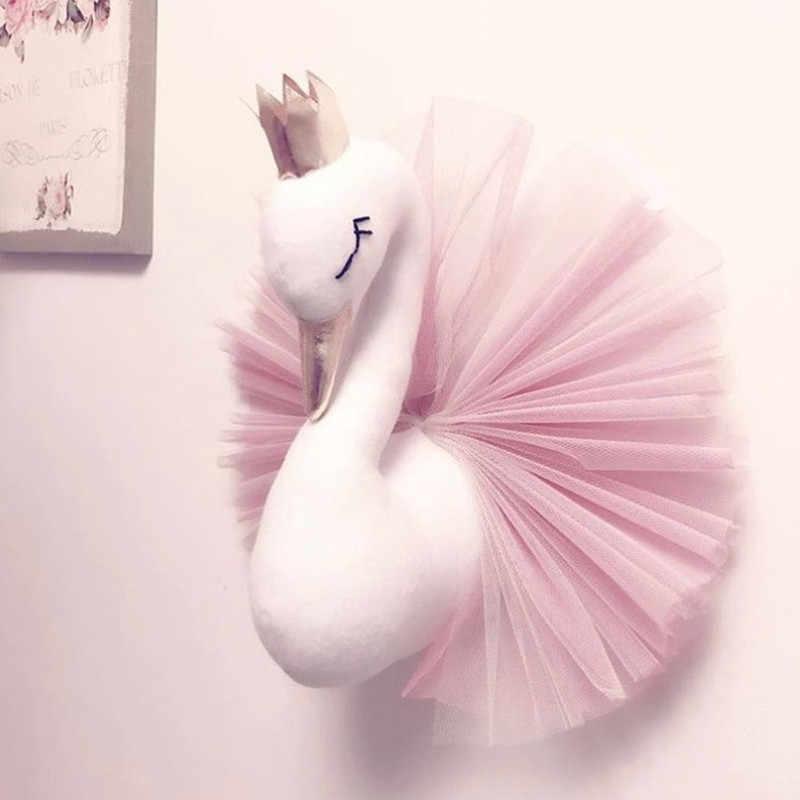Новая голова животного Лебедь Фламинго Настенное подвесное крепление плюшевая игрушка принцесса кукла для девочки ребенок подарок Детская комната Настенный декор