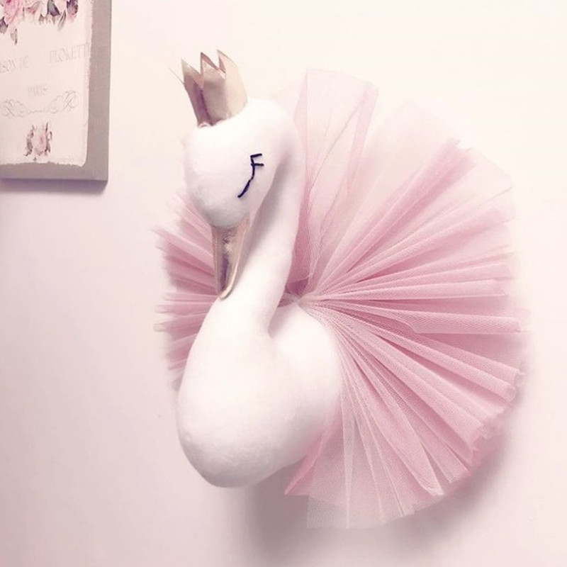 Animal Head Swan Flamingo Wall Hanging Mount Stuffed Plush Toy Princess Doll For Girl Baby Kid Gift Nursery Room Wall Decor