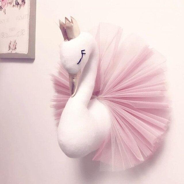 Cabeça de Animal Parede Flamingo Swan Pendurado Montar Princesa Boneca de Brinquedo De Pelúcia para Presente Do Miúdo Do Bebê Da Menina Berçário Da Parede Da Sala decoração