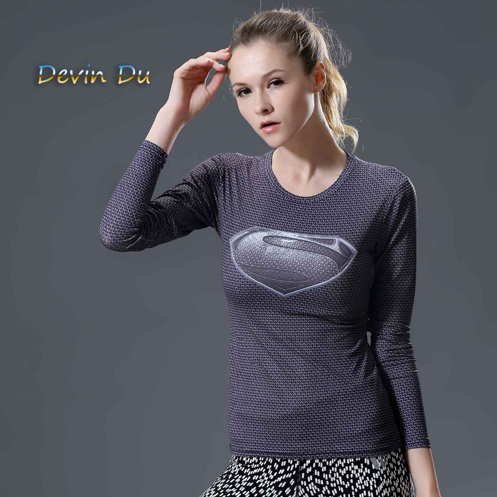 Camiseta ocasional femenina las mujeres del super héroe Superman/Capitán América/Spiderman/Batman Camisas bodybuilding compresión Tops más tamaño