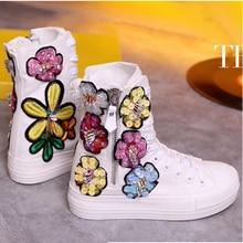 Designer Handmade Sequin Rhinestone Flower Women Platform Canvas Shoes Vulcanized Casual Bambas Mujer Thick Soled White Sneakers