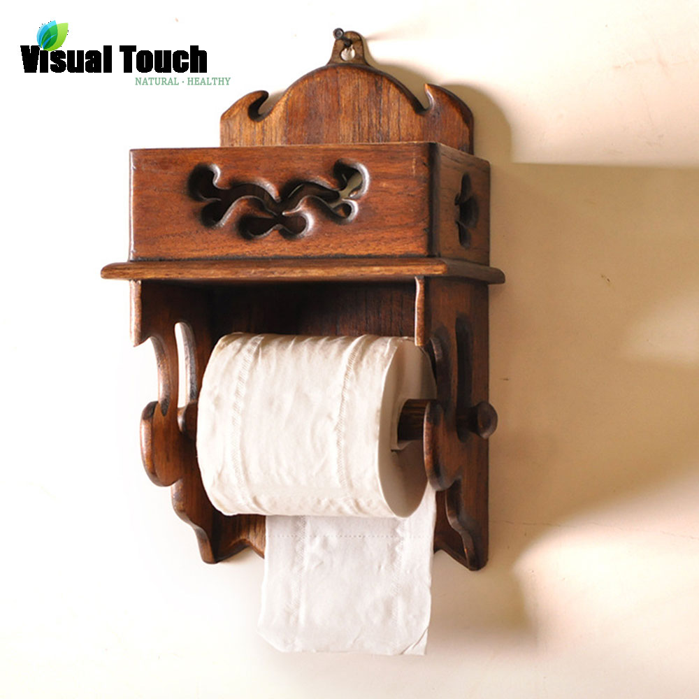 Visual Touch Thailand Wood Wooden Toilet Paper Holder Wall