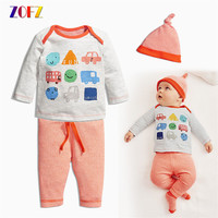Kawaii Baby Girl Boy Clothes Long Sleeve T Shirt Pants Hat Cute Baby Sets Casual 3pcs