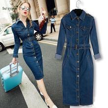 2019 Women Denim Lapel Dress Winter Office 4XL Jeans Mid-Cuff Cowboy With Belt Sarafan Plus size