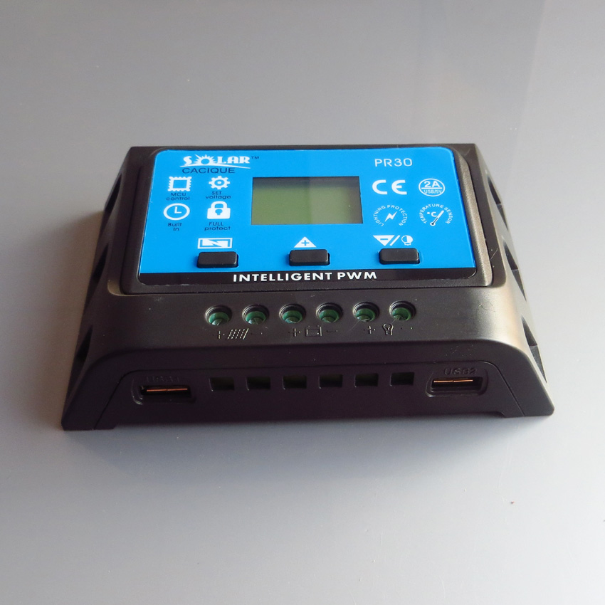 1pc x <font><b>30A</b></font> PR3030 <font><b>12V</b></font>/24V LCD PWM Solar Panel Charge Regulator <font><b>Battery</b></font> Controller with two USB 5V <font><b>Charger</b></font> Backlight